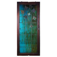 Antique Arts & Crafts Leaded Stained Glass Window Frame Blues Greens Floral