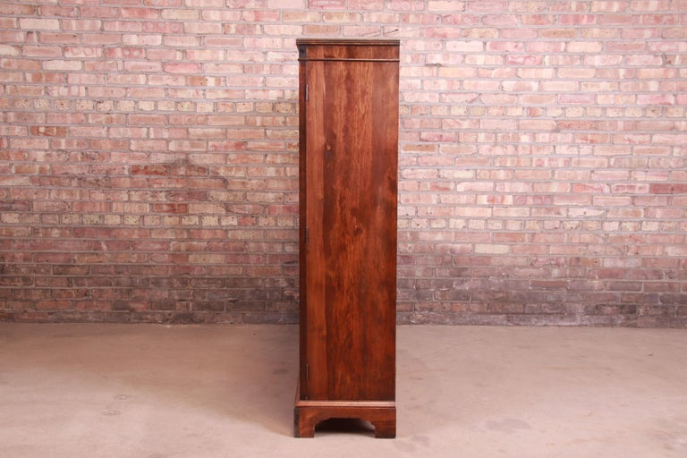 Antique Arts & Crafts Mahogany and Burled Walnut Glass Front Triple Bookcase For Sale 3