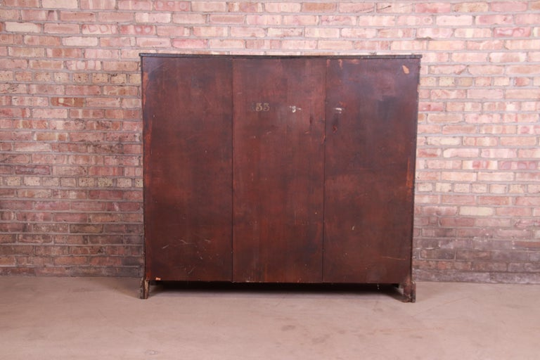 Antique Arts & Crafts Mahogany and Burled Walnut Glass Front Triple Bookcase For Sale 4
