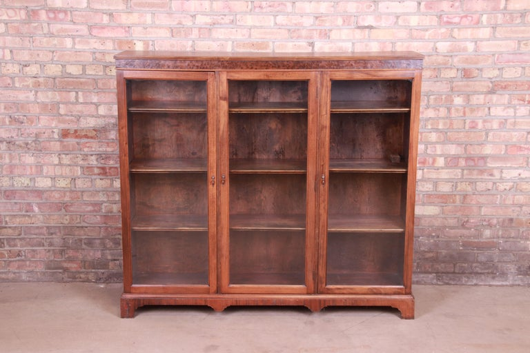 Arts and Crafts Antique Arts & Crafts Mahogany and Burled Walnut Glass Front Triple Bookcase For Sale