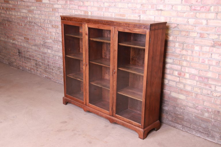 American Antique Arts & Crafts Mahogany and Burled Walnut Glass Front Triple Bookcase For Sale