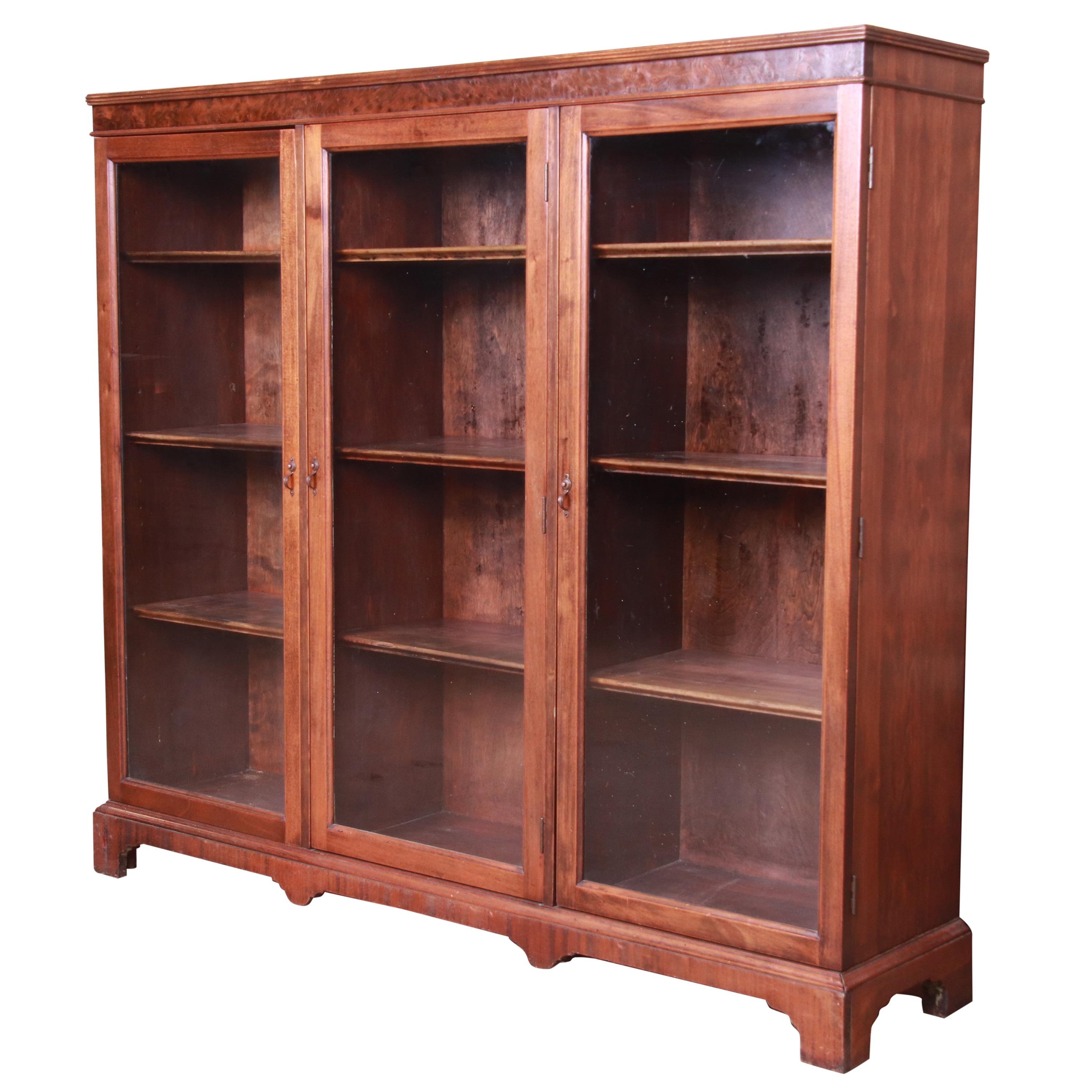 Antique Arts & Crafts Mahogany and Burled Walnut Glass Front Triple Bookcase
