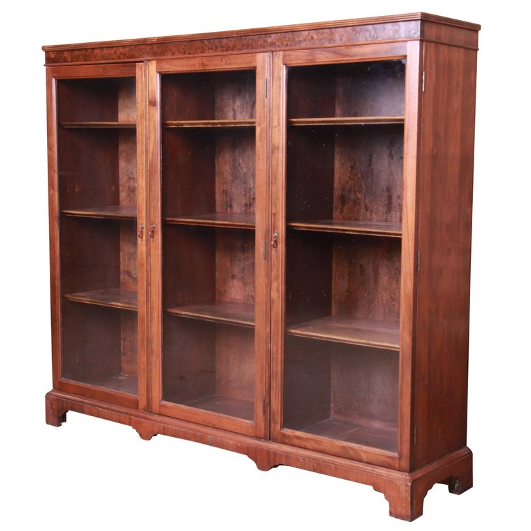 Antique Arts & Crafts Mahogany and Burled Walnut Glass Front Triple Bookcase For Sale