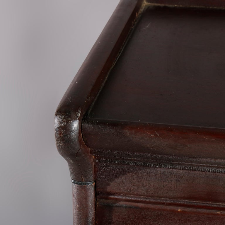 Antique Arts & Crafts Mahogany Barrister Bookcase with Mother of Pearl For Sale 2