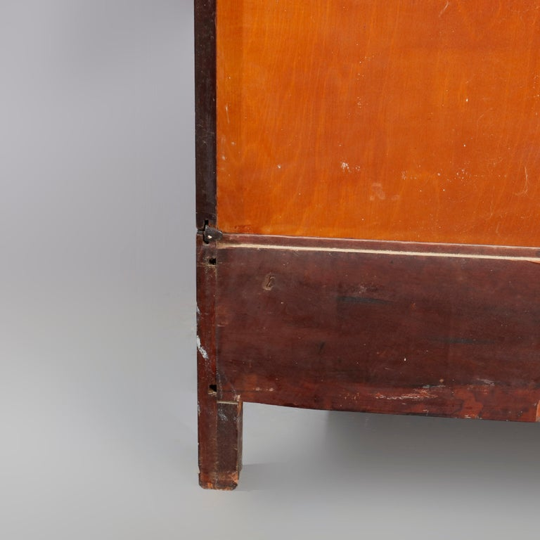 Antique Arts & Crafts Mahogany Barrister Bookcase with Mother of Pearl For Sale 4