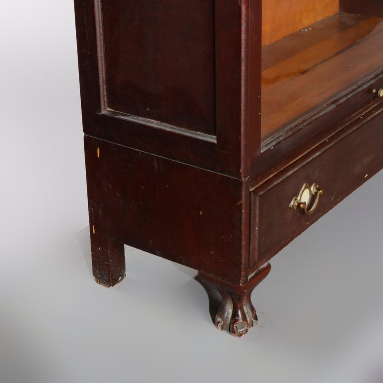 Antique Arts & Crafts Mahogany Barrister Bookcase with Mother of Pearl For Sale 6