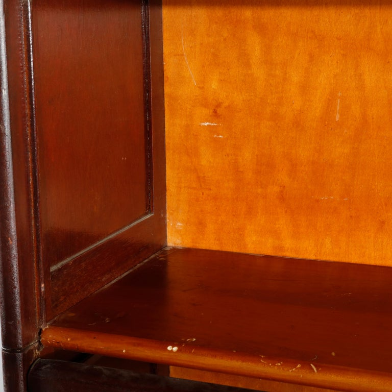 Antique Arts & Crafts Mahogany Barrister Bookcase with Mother of Pearl For Sale 10