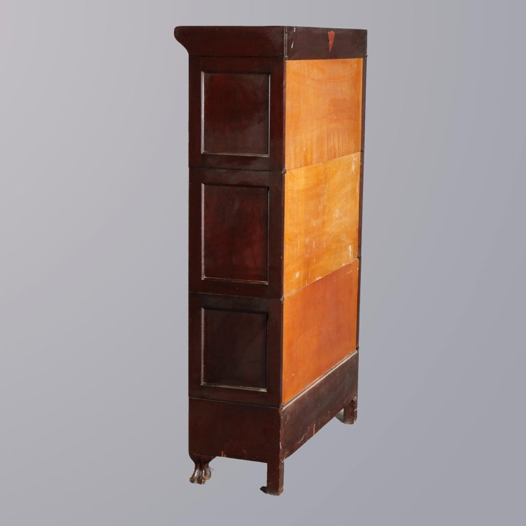 Arts and Crafts Antique Arts & Crafts Mahogany Barrister Bookcase with Mother of Pearl For Sale