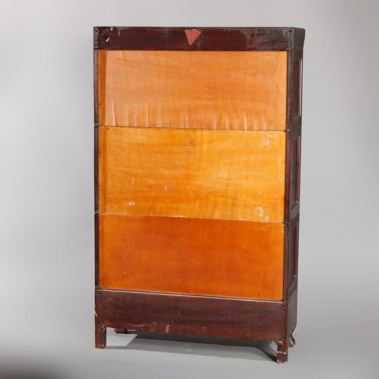 American Antique Arts & Crafts Mahogany Barrister Bookcase with Mother of Pearl For Sale