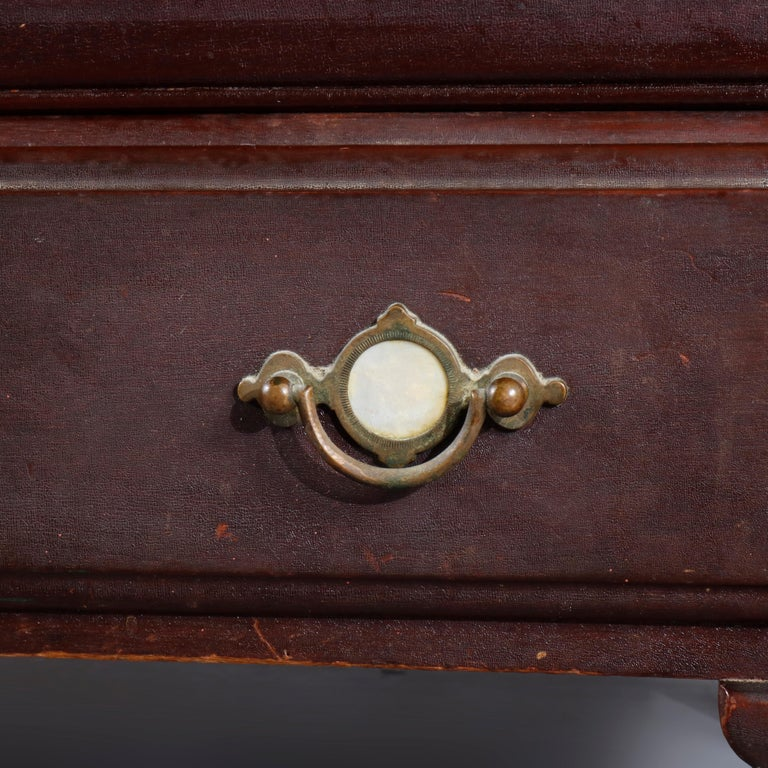 Antique Arts & Crafts Mahogany Barrister Bookcase with Mother of Pearl In Good Condition For Sale In Big Flats, NY