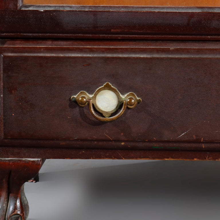 20th Century Antique Arts & Crafts Mahogany Barrister Bookcase with Mother of Pearl For Sale