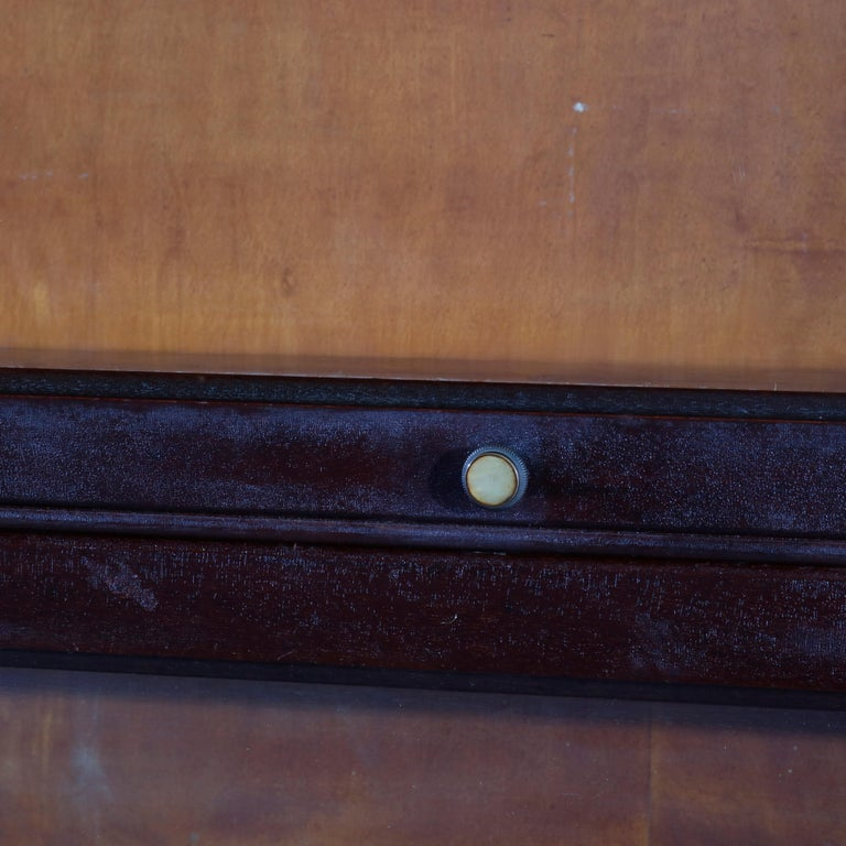 Brass Antique Arts & Crafts Mahogany Barrister Bookcase with Mother of Pearl For Sale
