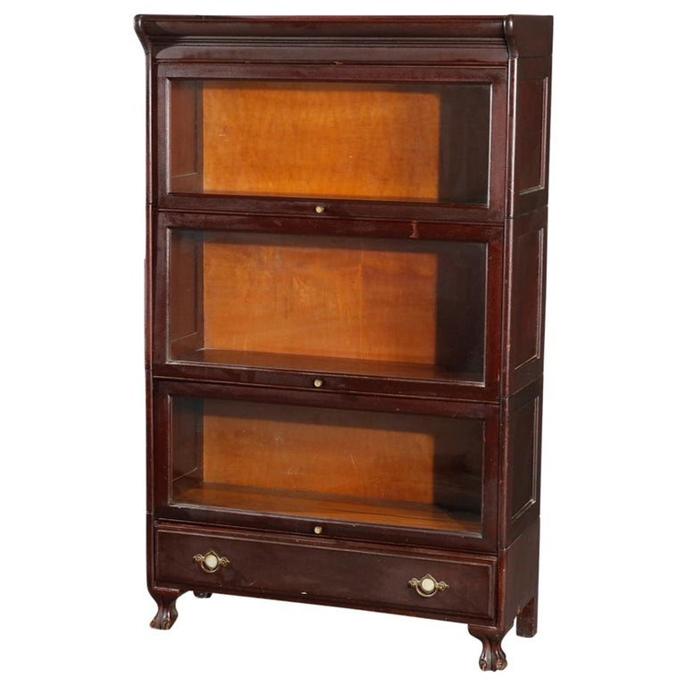 Antique Arts & Crafts Mahogany Barrister Bookcase with Mother of Pearl For Sale