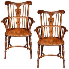 Antique Arts & Crafts Windsor Armchair, Mid-19th Century