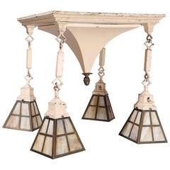 Antique Arts & Crafts Metal & Slag Glass 4-Light Pyramidal Hanging Light, c1920
