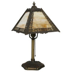 Antique Arts & Crafts Miller Panel Slag Glass Lamp, circa 1920