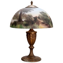Antique Arts & Crafts Miller Reverse Painted Table Lamp, Signed, circa 1920