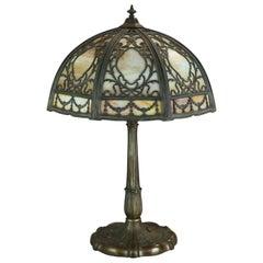 Antique Arts & Crafts Miller School Slag Glass Foliate Filigree Table Lamp c1920