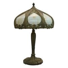 Antique Arts & Crafts Miller School Slag Glass Table Lamp, c1920
