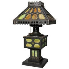 Antique Arts & Crafts Mission Ebonized Cast Iron and Slag Glass Table Lamp