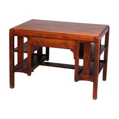 Antique Arts & Crafts Mission Oak Desk, Library Table, by Limbert, circa 1910