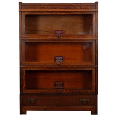Antique Arts & Crafts Mission Oak Globe Wernicke Barrister Bookcase, circa 1910