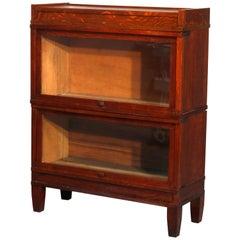 Antique Arts & Crafts Mission Oak Globe Wernicke Style Bookcase, circa 1910