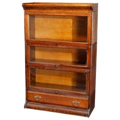 Antique Arts & Crafts Mission Oak Grand Rapids 3 Stack Bookcase, circa 1910