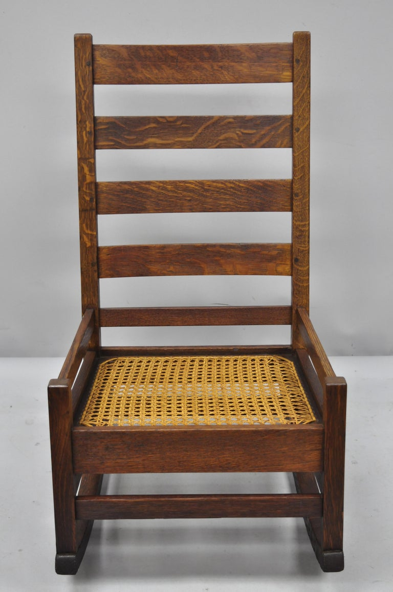 Antique Arts And Crafts Mission Oak Ladder Back Hip Rail