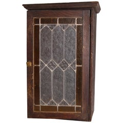 Antique Arts & Crafts Mission Oak & Leaded Glass Wall Cabinet, circa 1910