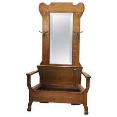 Antique Arts & Crafts Mission Oak Mirrored Lift Top Hall Seat, circa 1900