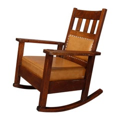Antique Arts & Crafts Mission Oak Stickley Brothers Rocker, circa 1900