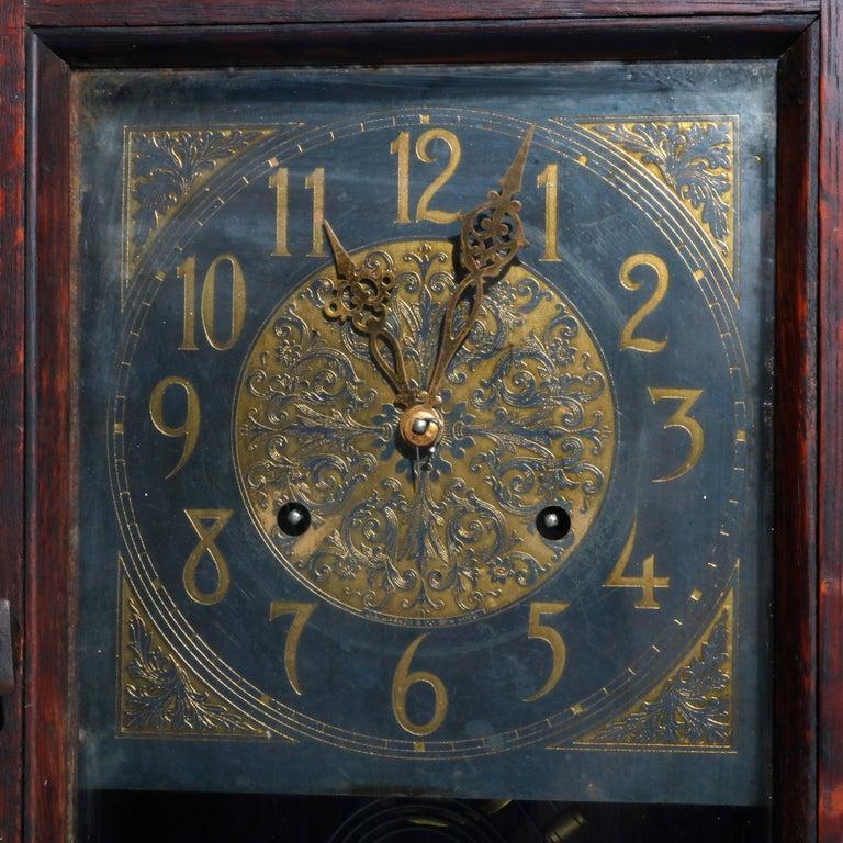Wall Clock Arts Crafts Mission Inspired Quarter Sawn Oak Copper New