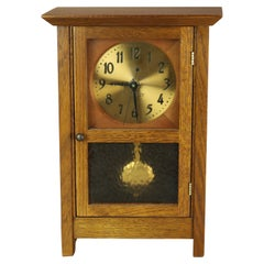 Antique Arts & Crafts Mission Oak Stickley Mantle or Desk Clock, 20th Century
