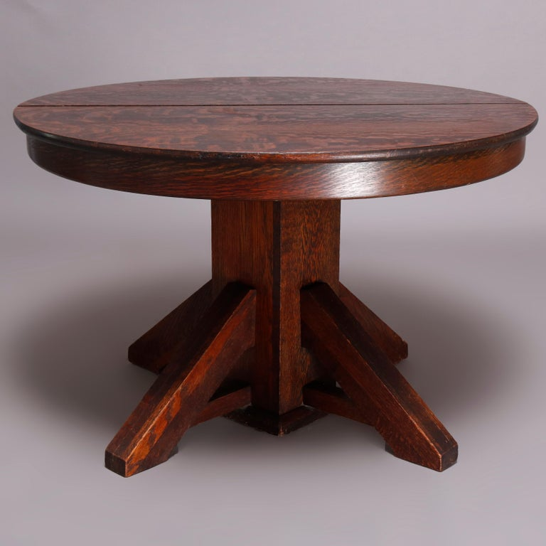 Antique Arts & Crafts Mission Oak Stickley School Pedestal Dining Table