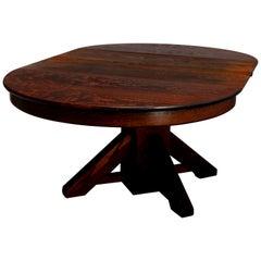 Antique Arts & Crafts Mission Oak Stickley School Pedestal Dining Table