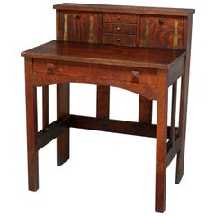 Antique Arts & Crafts Mission Oak Stickley School Writing Desk, circa 1910