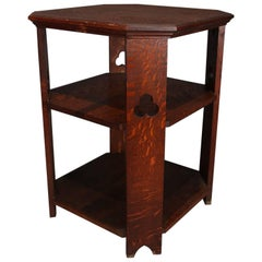 Antique Arts & Crafts Mission Quarter Sawn Oak Three-Tier Trefoil Lamp Stand