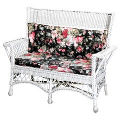 Antique Arts & Crafts Mission Style Wicker Settee, Circa 1910