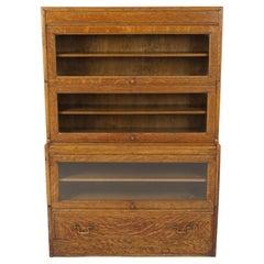 Antique Arts & Crafts Mission Tiger Oak Barrister Bookcase, Scotland 1910, B2426