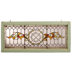 Antique Arts & Crafts Mosaic Leaded Beveled & Jeweled Glass Window, c1900