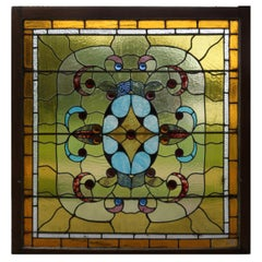 Antique Arts & Crafts Mosaic Leaded Glass and Jeweled Bullseye Window