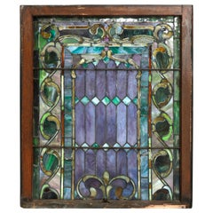 Antique Arts & Crafts Mosaic Leaded Slag Glass Window, circa 1930