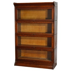 Antique Arts & Crafts Oak 4 Stack Barrister Bookcase by Gunn, circa 1910
