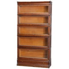 Antique Arts & Crafts Oak 5-Stack Barrister Bookcase by Macey, circa 1910