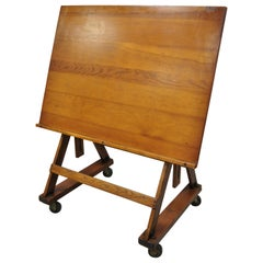 Antique Arts & Crafts Oak Cherry Pine Wood Artist Drafting Table on Wheels