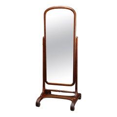 Antique Arts & Crafts Oak Cheval Dressing Mirror, Circa 1910