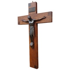 Antique Arts & Crafts Oak Cross and Bronzed Metal Corpus of Christ Crucifix