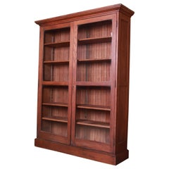 Antique Arts & Crafts Oak Glass Front Bookcase, Circa 1900