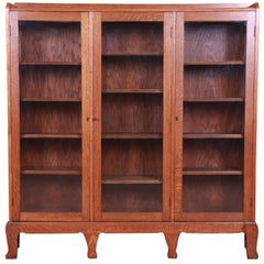 Antique Arts & Crafts Oak Glass Front Triple Bookcase, circa 1900